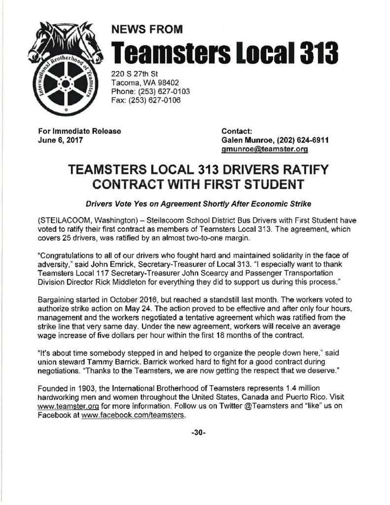 Teamsters Local 313 Drivers Ratify Contract with First Student
