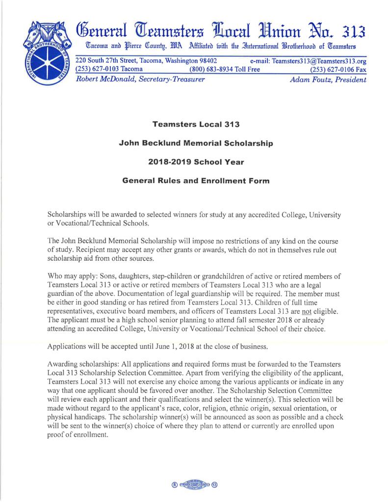 John Becklund Memorial Scholarship 2018-19 Enrollment