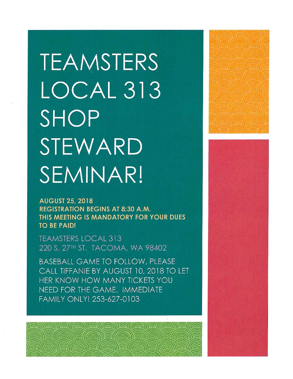 Teamster Local 313 Shop Steward Seminar
