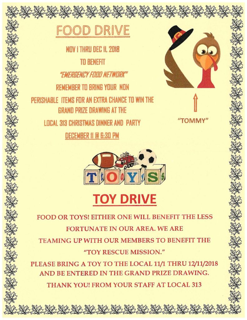 Teamsters Local 313 Food & Toy Drive