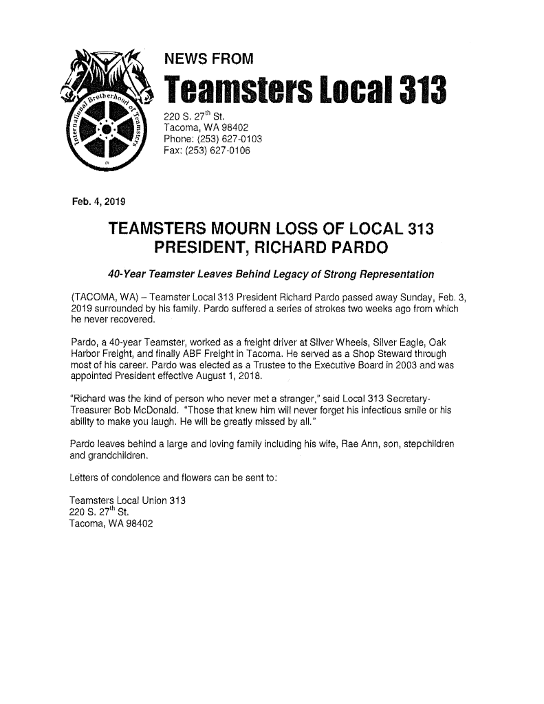 Teamsters Mourn Loss of Local 313 President, Richard Pardo