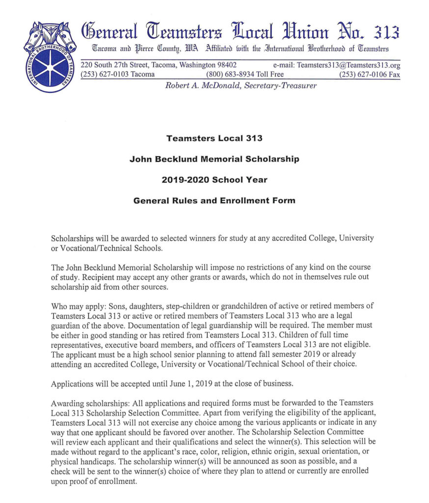John Becklund Memorial Scholarship –  2019-2020 School Year – General Rules and Enrollment Form