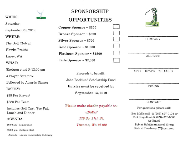 11th Annual John Becklund Memorial Golf Tournament – Saturday, September 28th, 2019