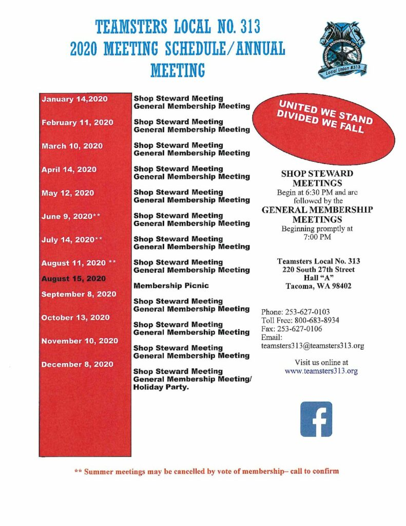 Teamsters Local No. 313 2020 Meeting Schedule