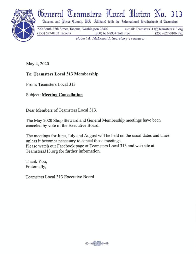 May 2020 Shop Steward and General Membership Meeting Canceled