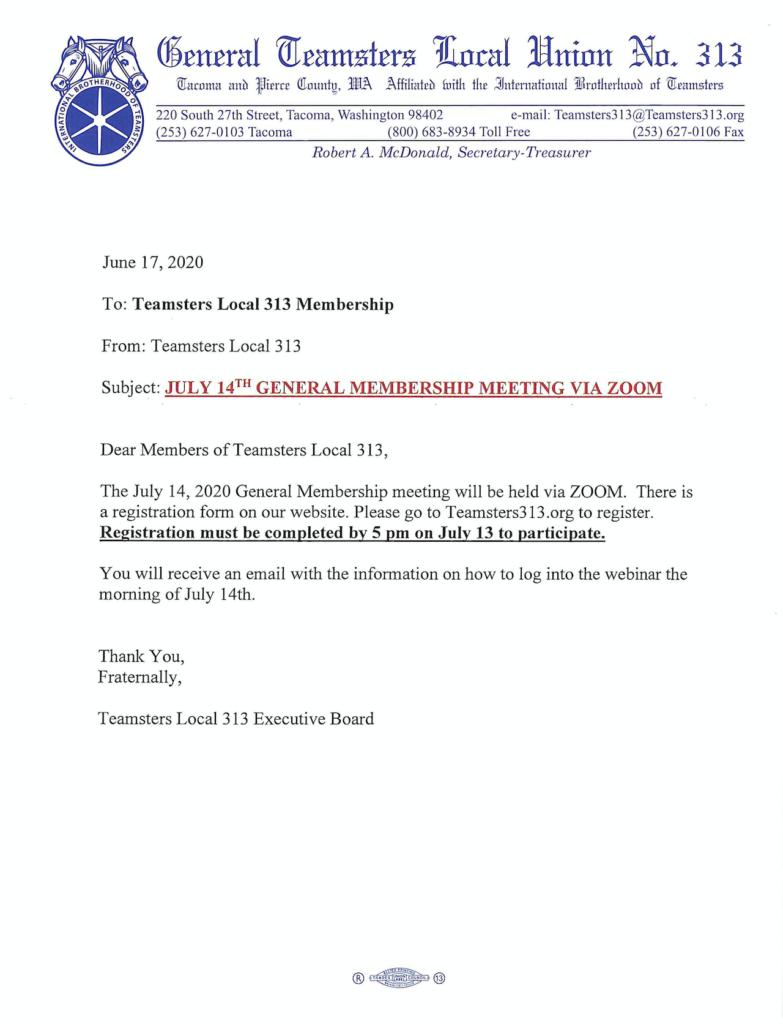 July 14th General Membership Meeting via Zoom
