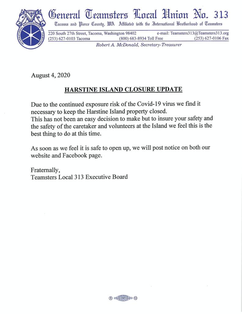 Harstine Island Closure Update