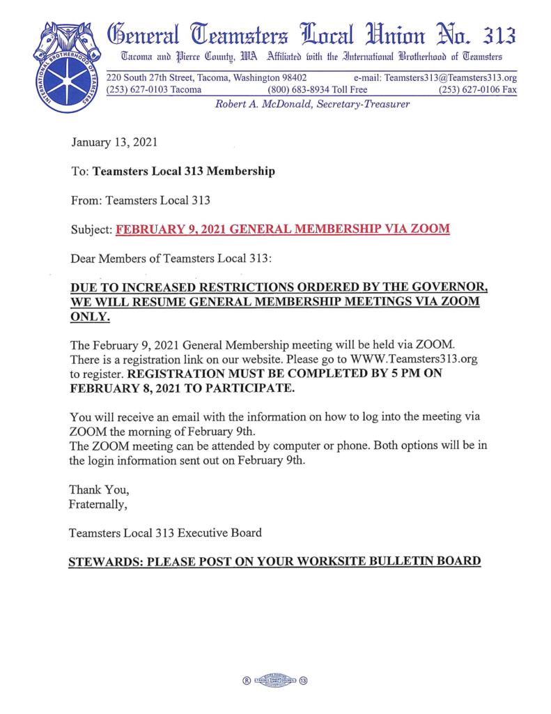 FEBRUARY 9, 2021 GENERAL MEMBERSHIP MEETING VIA ZOOM