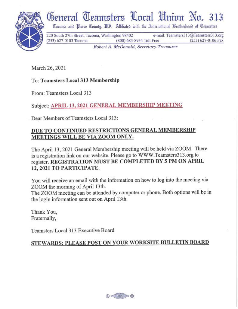 APRIL 13, 2021 GENERAL MEMBERSHIP MEETING VIA ZOOM