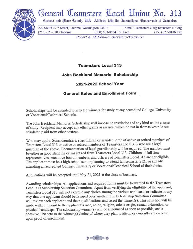 John Becklund Memorial Scholarship 2021-2022 School Year – General Rules and Enrollment Form