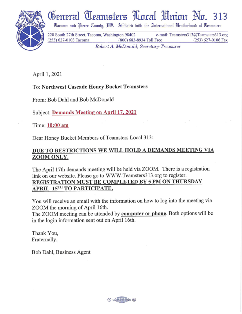 Northwest Cascade Honey Bucket Teamsters Demands Meeting