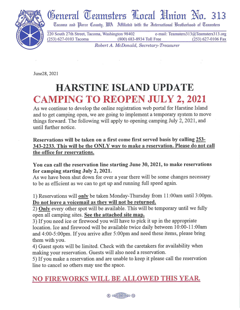 Harstine Island Camping to Open July 2nd, 2021