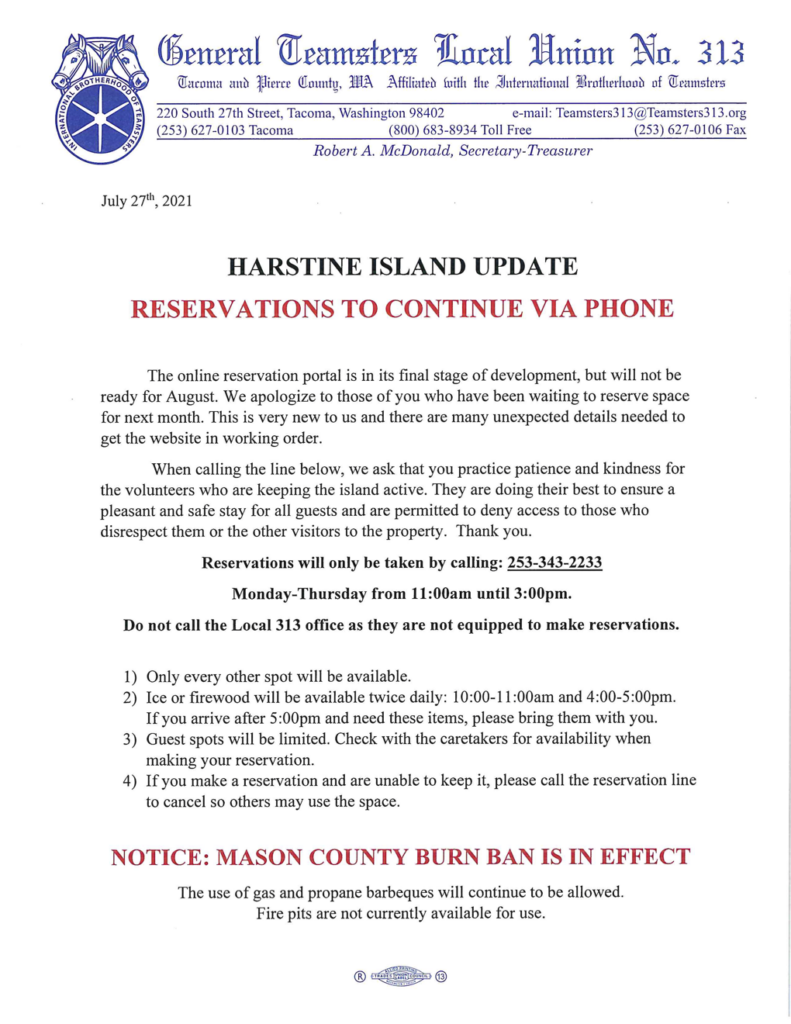Harstine Island Update – Reservations to Continue via Phone