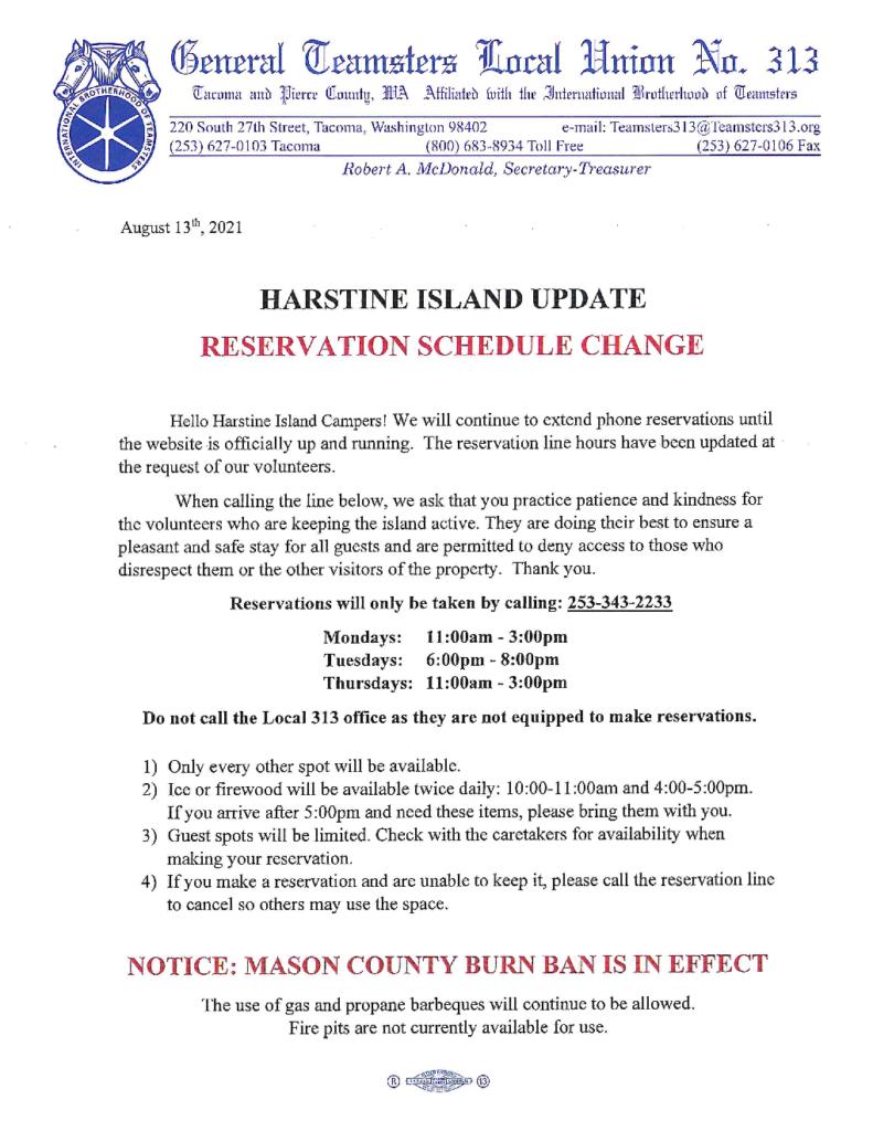 Harstine Island Update – Reservation Schedule Change
