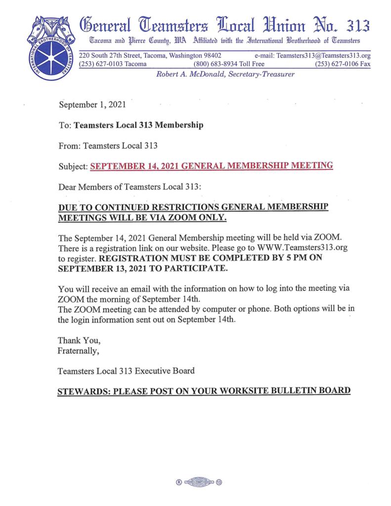 September 14th, 2021 General Membership Meeting via Zoom Only