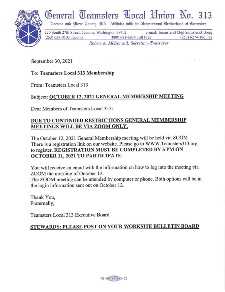 October 12th, 2021 General Membership Meeting via Zoom Only